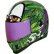 Icon Airform Ritemind Green And Purple Weed Leaf Stoner 420 Full Face Helmet