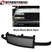 For 1999-2002 Chevy Silverado Ld Matte Black Mesh Front Hood Bumper Grill Grille