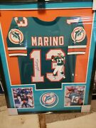 Custom Framed Dan Marino Signed Hand Painted Jersey Hologram Authenticated 12/13
