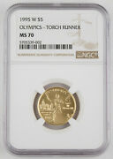 Us 1995 W 5 Olympic Torch Runner Commemorative Gem Bu Gold Coin Ngc Ms70