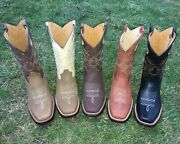 Mens Cowboy Boots Genuine Cowhide Leather Square Toe Rodeo Western Bota Vaquera