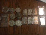 Ntr Metals 10 Troy Ounce .999 Silver Bar And 15 Ounces Of Misc 1oz Bars And Rnds