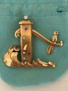 Antique 18k Gold Brooch W/ Diamonds And Rubies Water Pump W/ Moving Handle 21.8 Gr