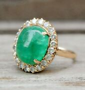 Black Friday 0.70ct Round Natural 14k Solid Yellow Gold Emerald Cocktail Ring 7