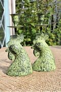 Pair Rooster Candle Holders Patina Metal Bronze Green Vintage Tapers