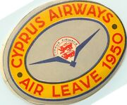 Cyprus Airways Air Leave Historic / Scarce Airline Luggage Label 1950