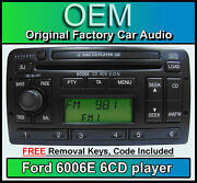 Ford Fiesta 6 Disc Changer Radio Ford 6006 6 Cd Player Car Stereo + Keys And Code