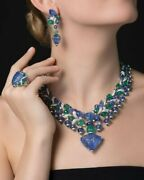 Carved Sapphire And Emerald 925 Sterling Silver Necklace With Earrings And Ring