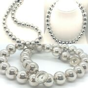Sterling Silver 16 Mm Bead Magnetic Clasp 22 Long Necklace