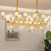 French Dimmable Led Crystal Chandelier Rectangular Dining Room Table Lamp Light