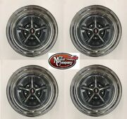 1965 1966 Cutlass 442 Ss1 Complete Rallye Wheel Set 15/8 15 X 8 Chrome / Black
