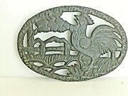 Vintage Oval Black Cast Iron Trivet Rooster Crowing Wall Decoration Farmhouse