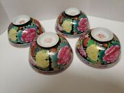 Rare Vtg Hand Painted Chinese Individual Porcelain Rice Bowls Marked Set Of 4