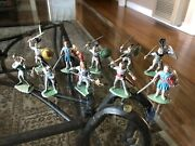 10 Vintage Made In England Toy Knight Figures Britains Crescent Handpainted 60mm
