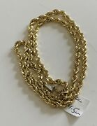 """Solid 10k Yg Rope Chain, 22"""" Long, 4.5mm Thick, 24 Grams"""