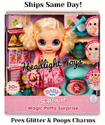Baby Born Magic Potty Surprise Doll Blonde Blue Eyes Drink Pee Eats Poops Charms