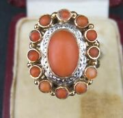 A Fine Antique 19th Century 18 Carats Gold Ring With Natural Bloodcoral