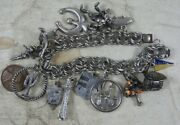 Vintage Sterling Silver Charm Bracelet With 13 Charms Disney Tinker Bell