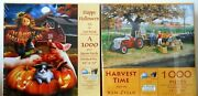 Puzzle - Sunsout Lot Of 2 Halloween And Harvest Puzzles - 1000 Pieces Each - Nip