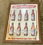 Vintage And03998 Budweiser Classic American Lager Beer Mirror Sign 1876 Hard_8s_magic
