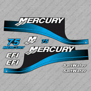 Mercury 75 Hp Efi Saltwater Outboard Engine Decals Blue Sticker Set Reproduction