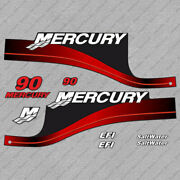 Mercury 90 Hp Efi Saltwater Outboard Engine Decals Red Sticker Set Reproduction