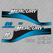 Mercury 90 Hp Optimax Outboard Engine Decals Blue Sticker Set Reproduction