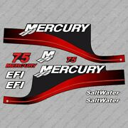 Mercury 75 Hp Efi Saltwater Outboard Engine Decals Red Sticker Set Reproduction