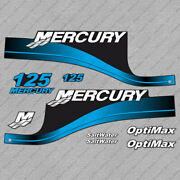 Mercury 125 Hp Optimax Outboard Engine Decals Blue Sticker Set Reproduction