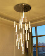 Dimmable Led Large Chandelier Duplex Villa Living Room Crystal Stair Long Light