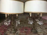 Antique Cherub French Lamps With Hand Painted Shade