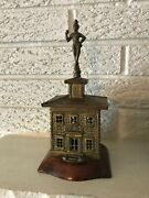 Antique Scarce Rare Brass And Wood House Still Bank With Knight Finial Figure