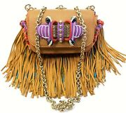 Christian Louboutin Sweet Charity Beaded Fringe Brown Leather Shoulder Chain Bag