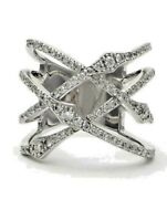 Black Friday2.00ct Natural Diamond 14k Solid White Gold Criss Cross Ring Size 7