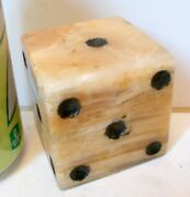 Vtg Marble Alabaster 2.5 Dice Paperweight Desk Library