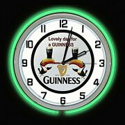 18 Guinness Beer Sign Green Double Neon Clock