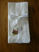 Set Of 4williams Sonoma Twas The Night Before Christmas Embroidered Napkins-new