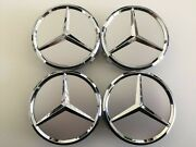 75mm Set Of 4 Silver Wheel Center Caps Fits Mercedes B C Cla Gla E Ml Gl Cls Sl