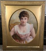 Antique English Oil Portrait Painting Victorian Woman 1800and039s 19th Century Lady