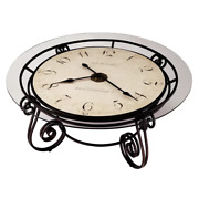 Vintage Clock Coffee Table Sturdy Metal Frame Glass Top Antique Accent Decor New