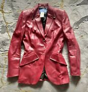 Thierry Mugler⚡️rare Cherry Red Leather Blazer Jacket Size 38it - S Metal Accent