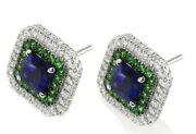 2.24ct Natural Diamond 14k Solid White Gold Emerald Wedding Stud Earring