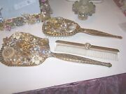 Vanity Set Bejeweled Hand Mirror Brush And Comb Gold Tone Vintage