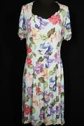 Exceptional French Vintage Wwii Era 1940and039s Silky Rayon Floral Dress Size 12+