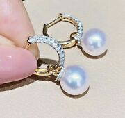 2.32ct Natural Diamond 14k Solid Yellow Gold Pearl Hoops Snap Closure Earring