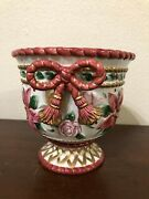 Fitz And Floyd Father Christmas Poinsettia Bow Flowers Cachepot Planter1996