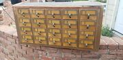 20 Drawer Card Catalog Wood File Cabinet Library Index