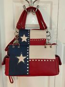 Texas Pride Lone Star Flag Concealed Carry Handbag W/wallet - Red White And Blue