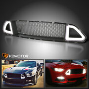 Fits 2015-2017 Ford Mustang Front Upper Hood Mesh Grille+bright Led Light Strip