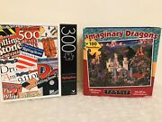Lot Of 2 Jigsaw Puzzles 100pc Imaginary Dragons And Castles + 300pc Rollingstone